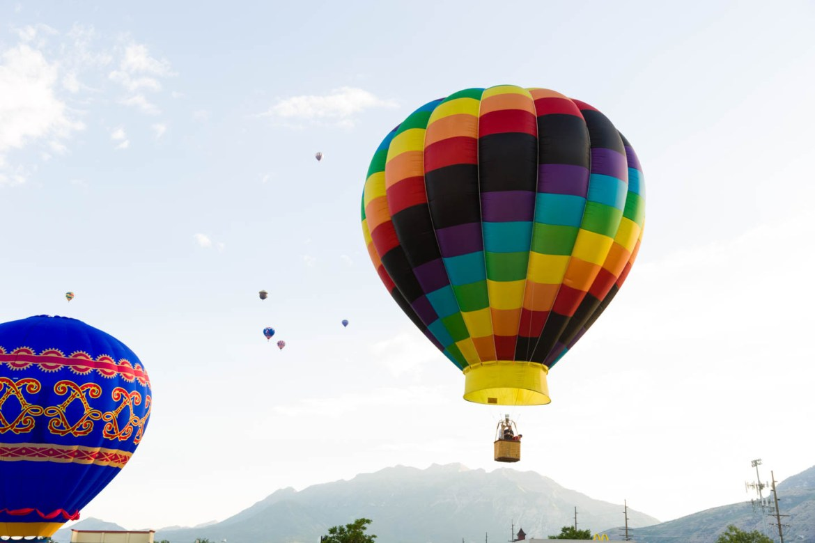 The rainbow hot air balloon launches