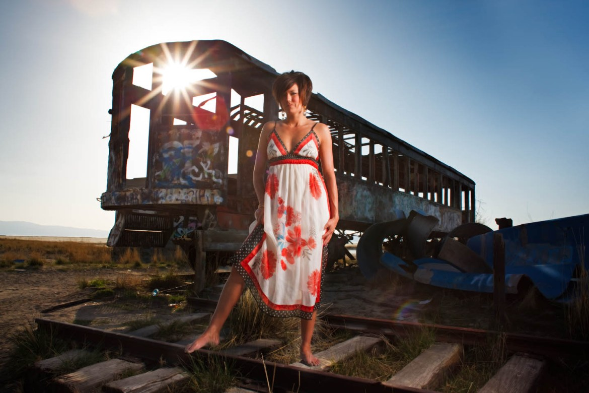 Kristin in front of the abandoned trolley