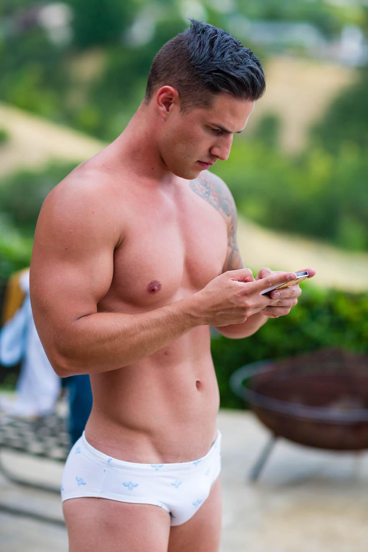 Luke models Aronik Quorum White swimwear