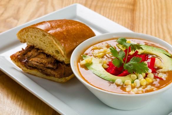 Southwest soup and tri tip sandwich