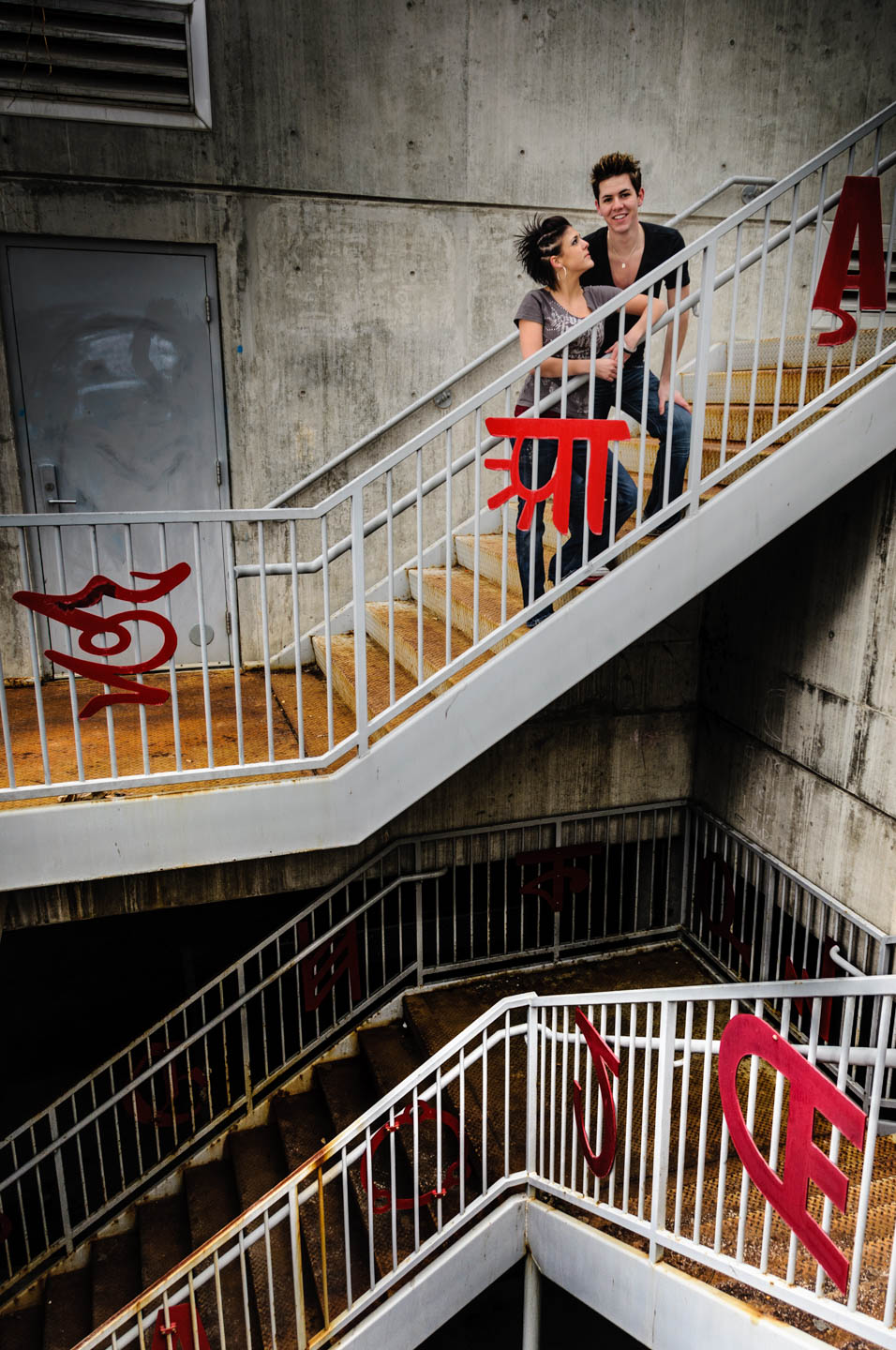 Creative portraiture with stairs