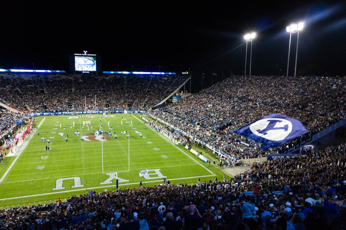 In the third quarter BYU rolls out a large flag with the Y on it