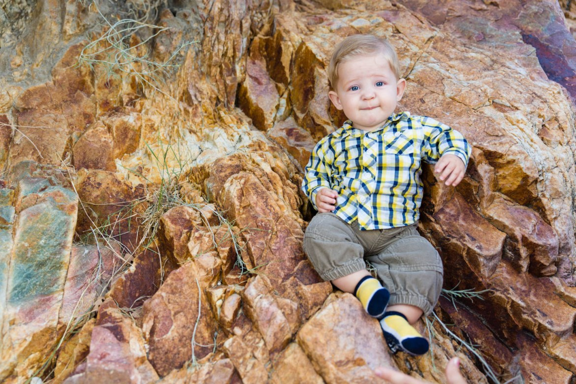 Levi sits on the canyon wall for this portait