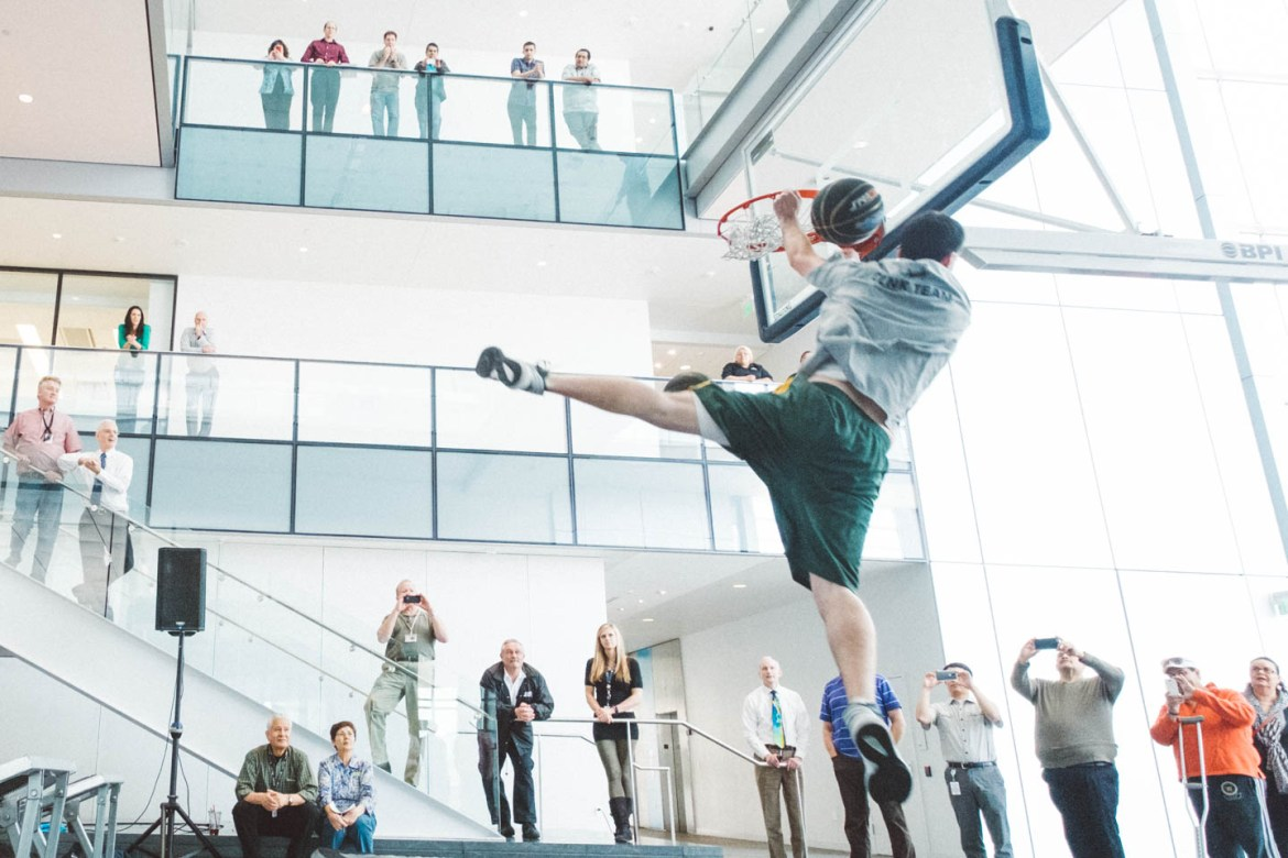 The Utah Jazz Dunk Team performs during March Madness