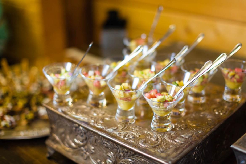 Appetizer on metal trays