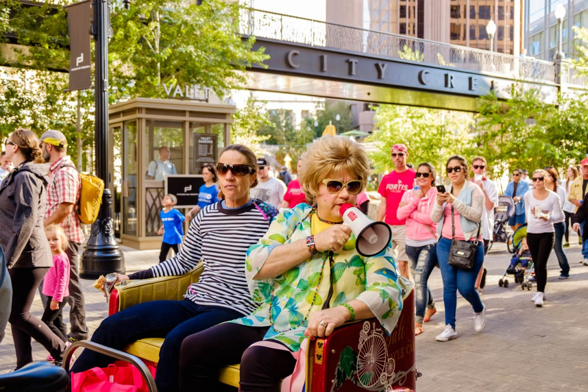 Sister Dottie S. Dixon rallies the walkers outside the City Creek Center