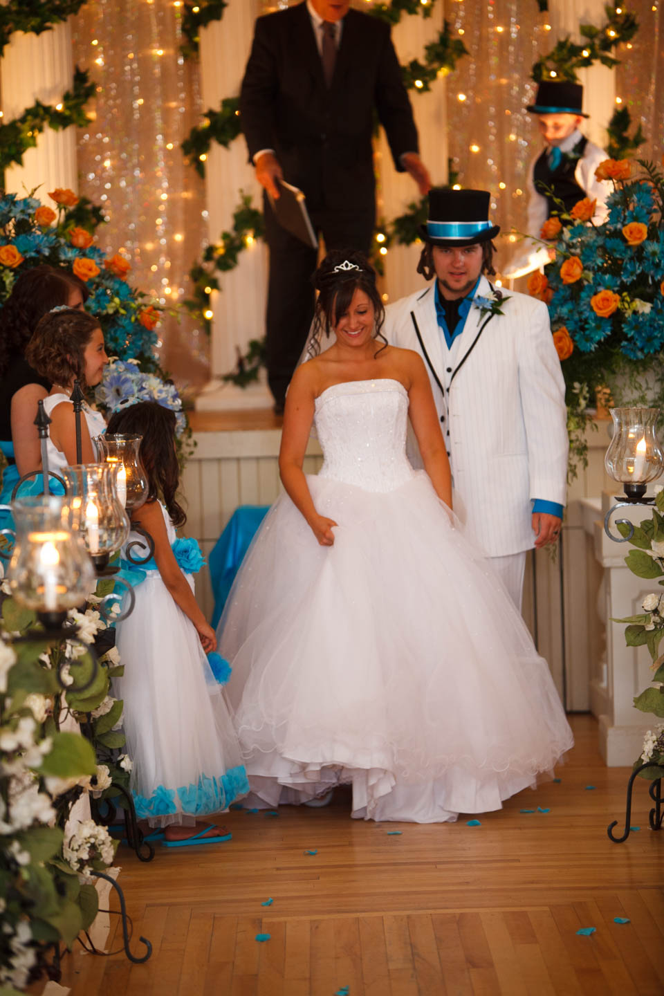 Walking down the aisle after being married