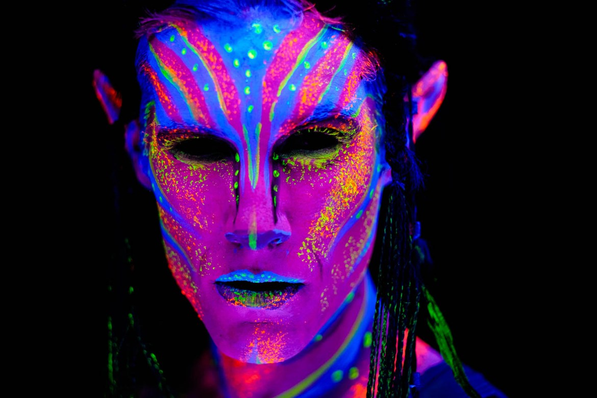 Amazing blacklight paint artistry by makeup artists from Utah County