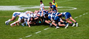 The scrum is used to turn the ball over to the other team