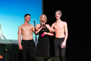 Shirtless hunks accompany the married television host. Don't tell the husband.