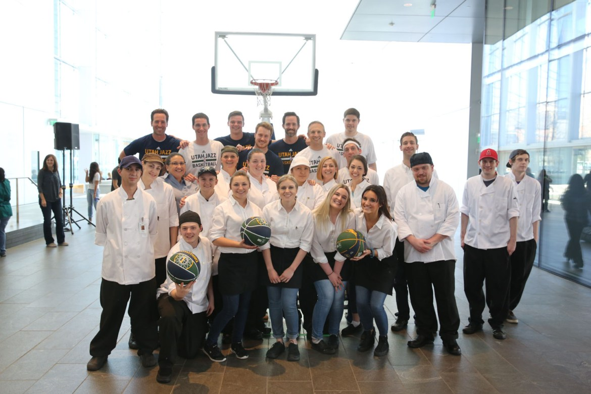 Dunk Team poses with The Spoon employees