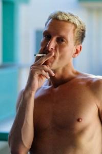 Chuck enjoys a morning cigarette