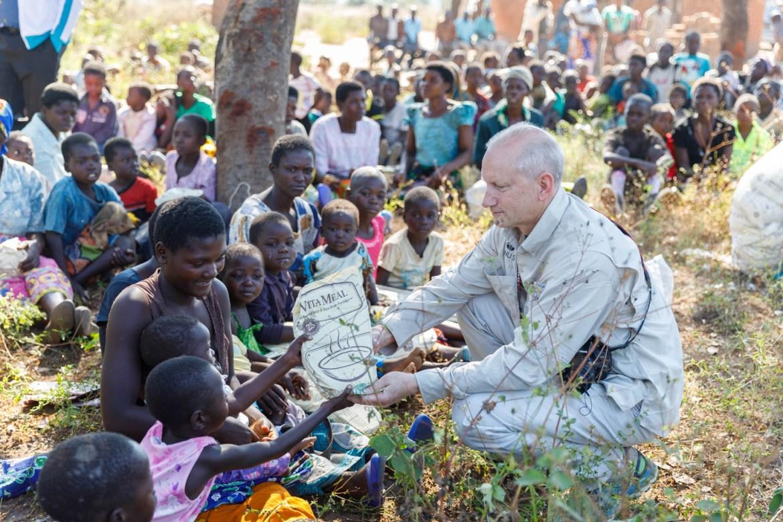 Distributing bags of VitaMeal