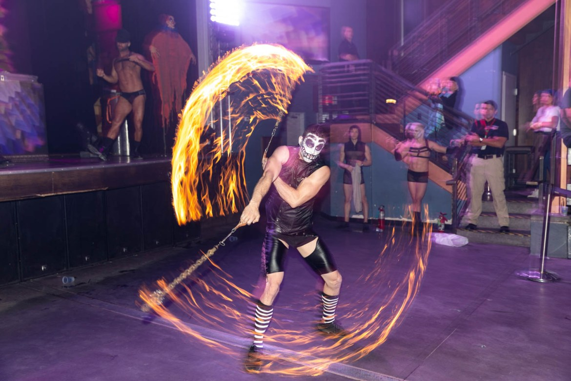 Pyromancer with T.J. Stutts performs a fire dancing routine