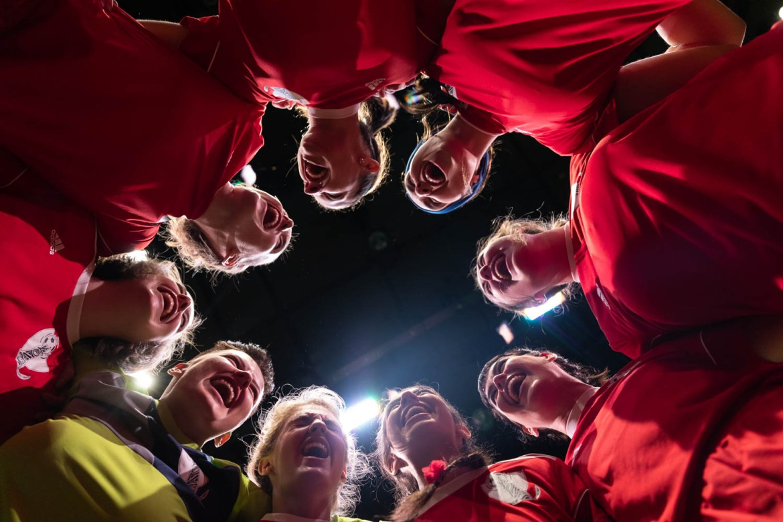 A team huddle