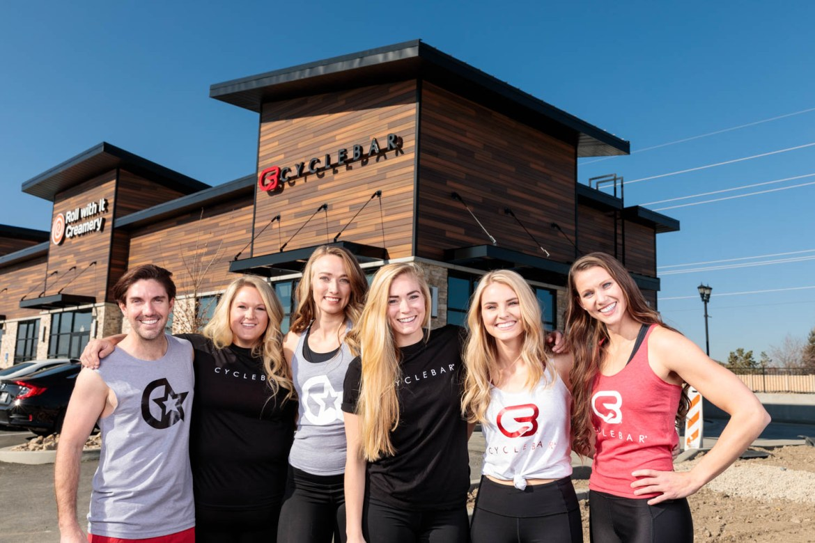 Group photo in front of CycleBar