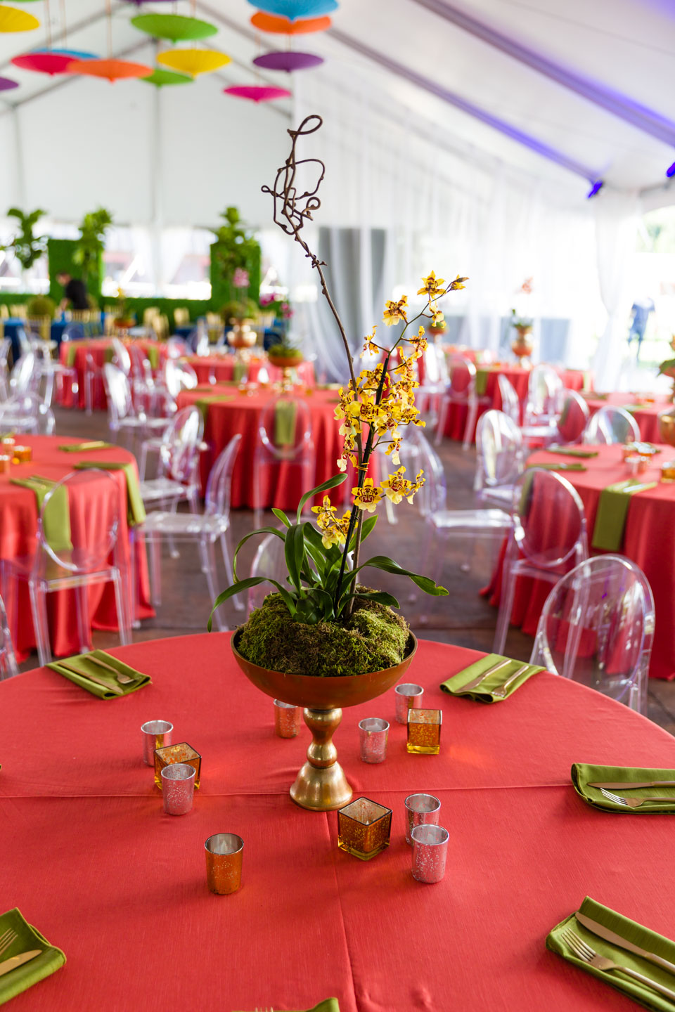 Orchids on each table