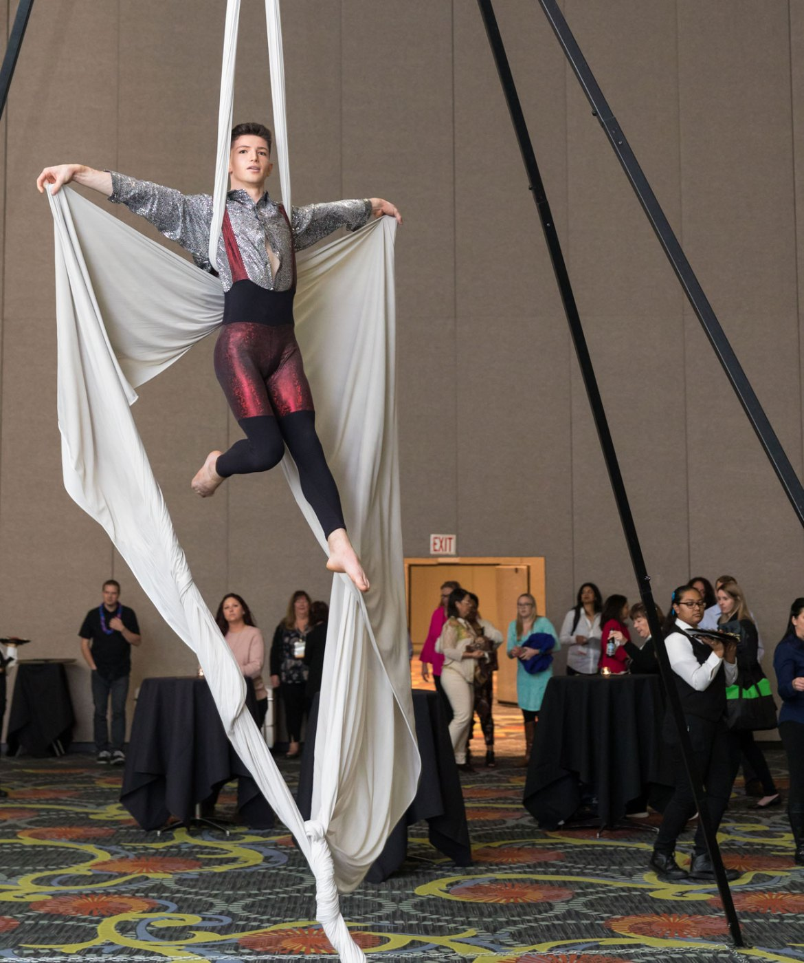 Aerialist entertainment at the closing party