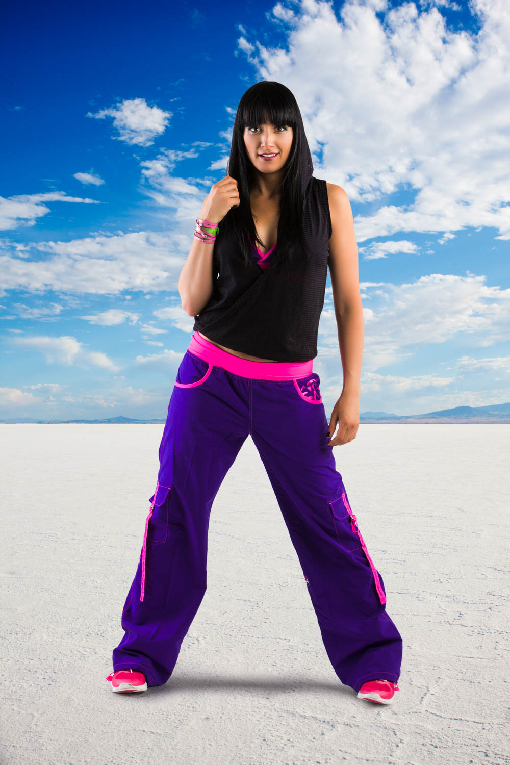 A Zumba instructor added to the Bonneville Salt Flats