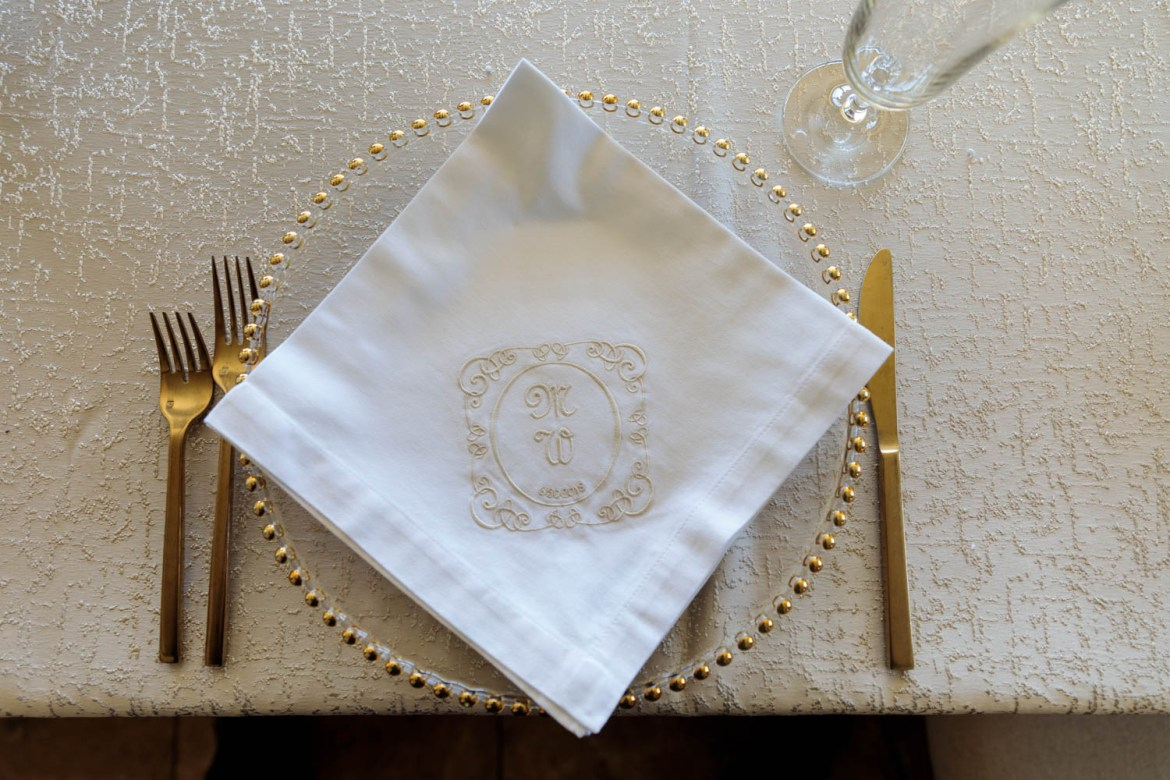 Place settings with monogrammed napkins