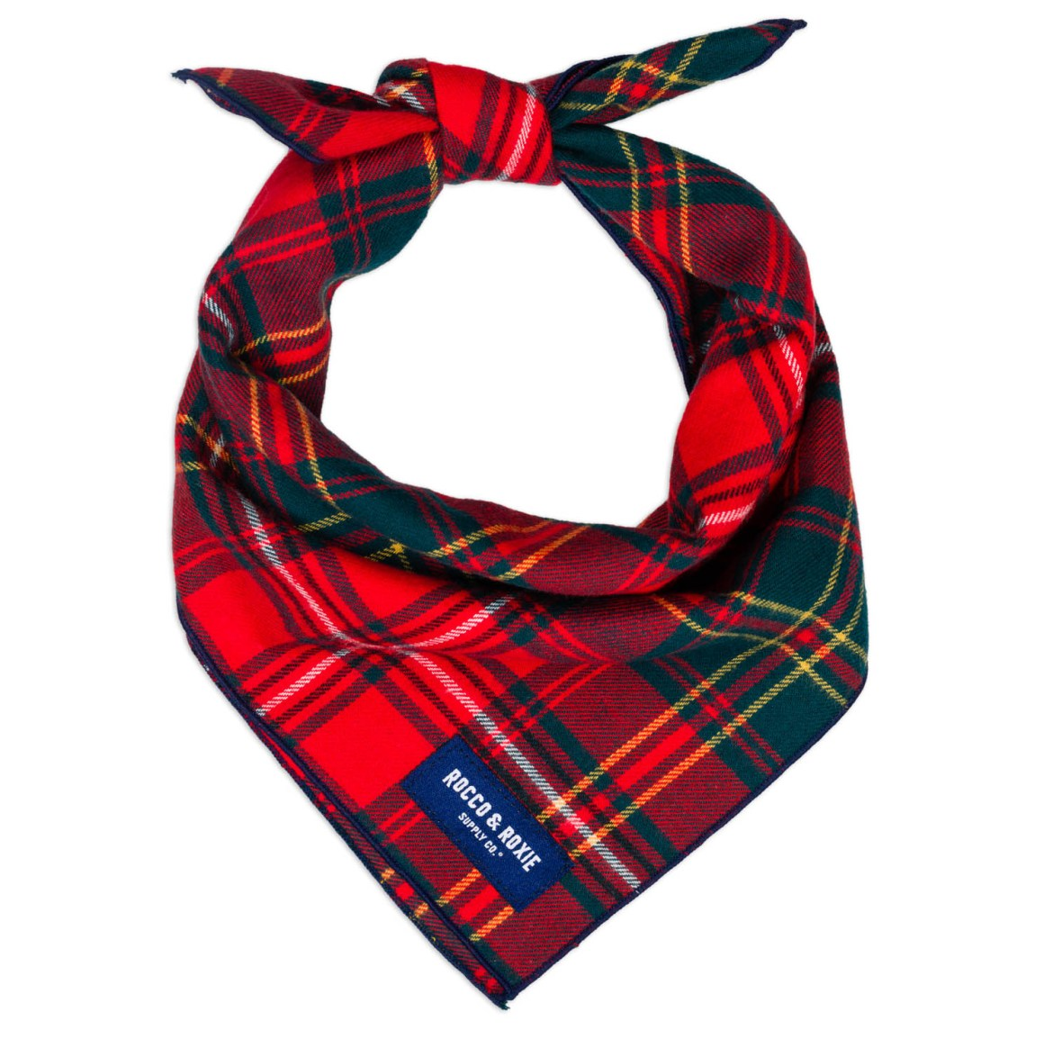 Red plaid bandana for dogs