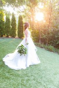 A bridal portrait at golden hour