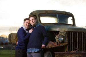 Antique farm trucks are engagement gold