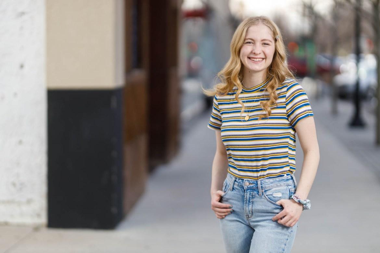 Maren poses on Provo's Center Street