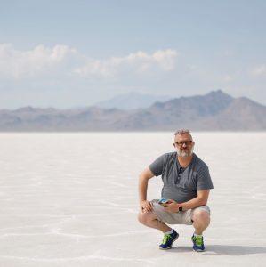 dav.d sits on the Bonneville Salt Flats