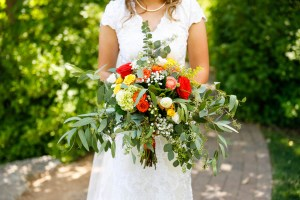 Wedding bouquet held by the bride