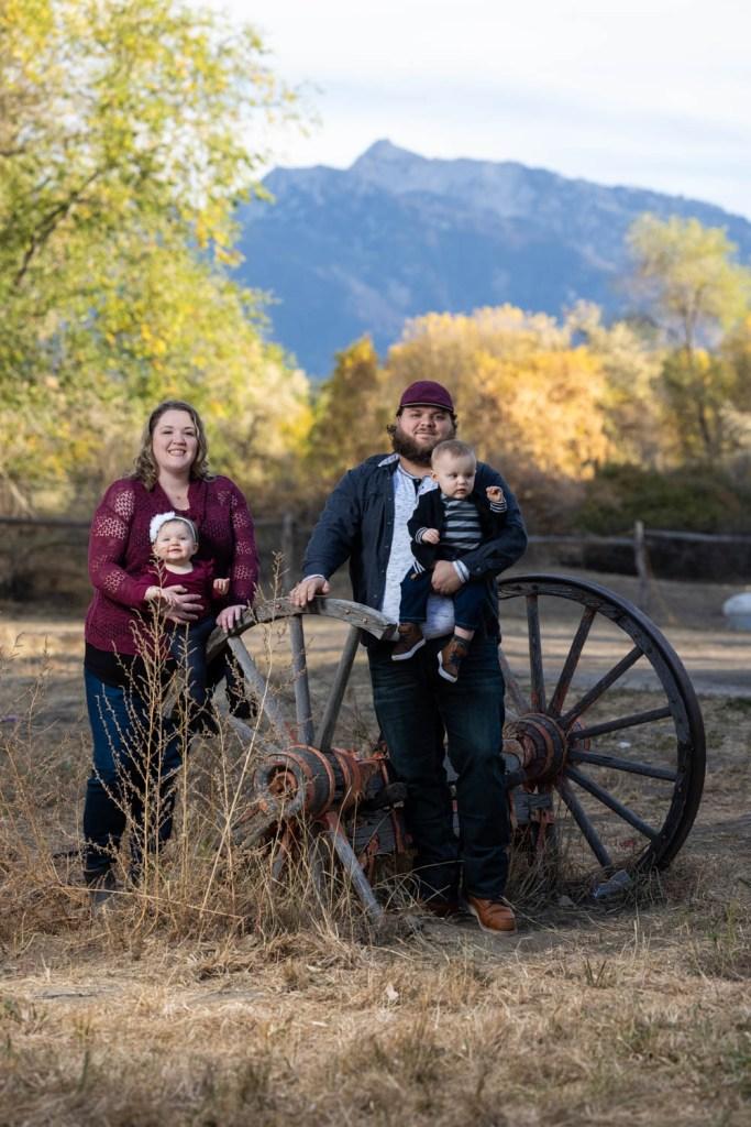 Family portraits on a farm in autumn