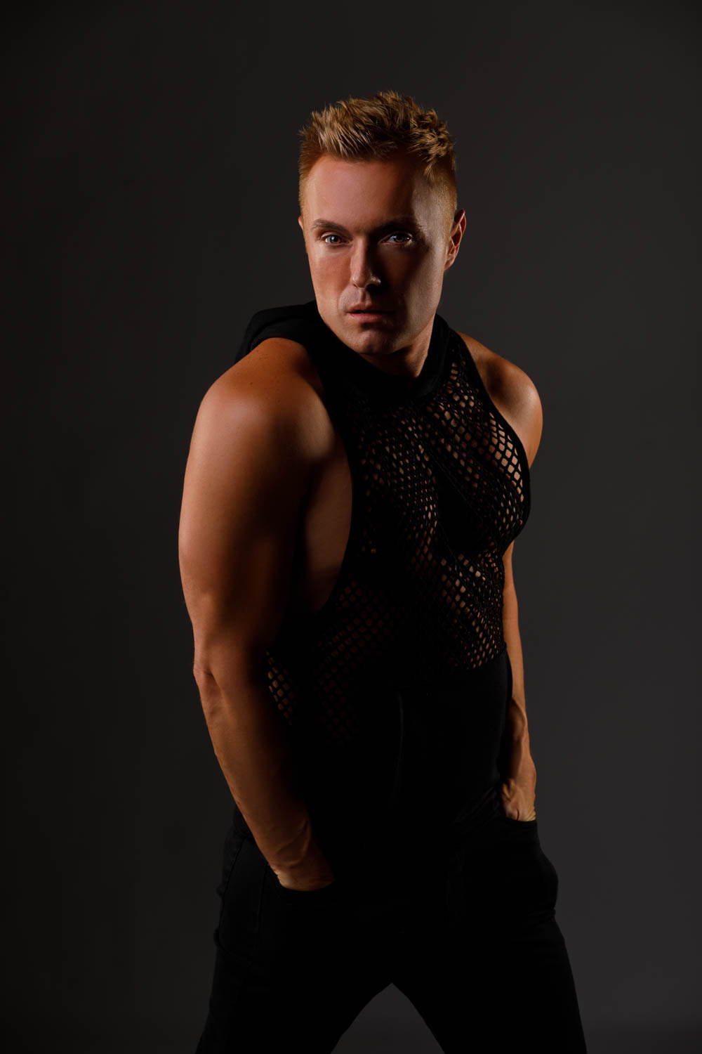 Male model with a mesh shirt