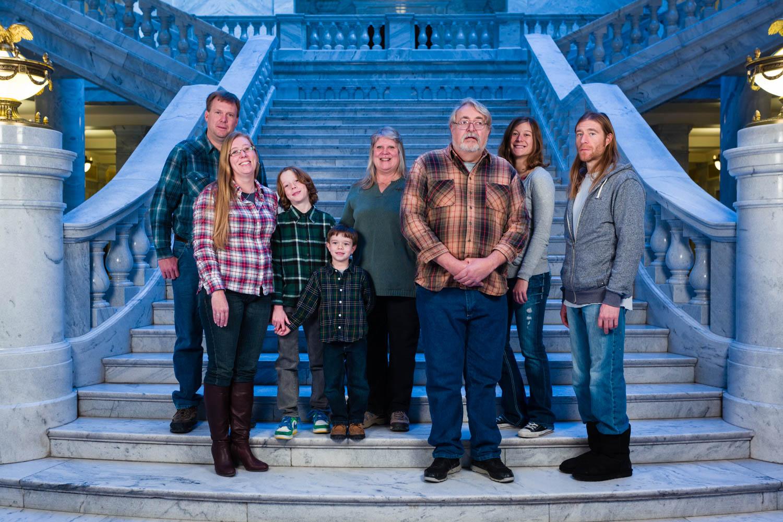Family portrait at Utah Capitol