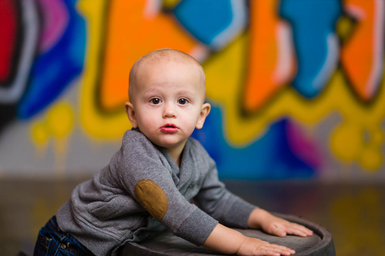 Kid photo with graffiti