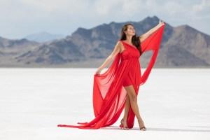 Red dress model on the Bonneville Salt Flats