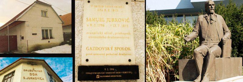 Zľava miesto založenia Gazdovského spolku, Družstevný dom, pamätná tabuľa a socha Jurkoviča