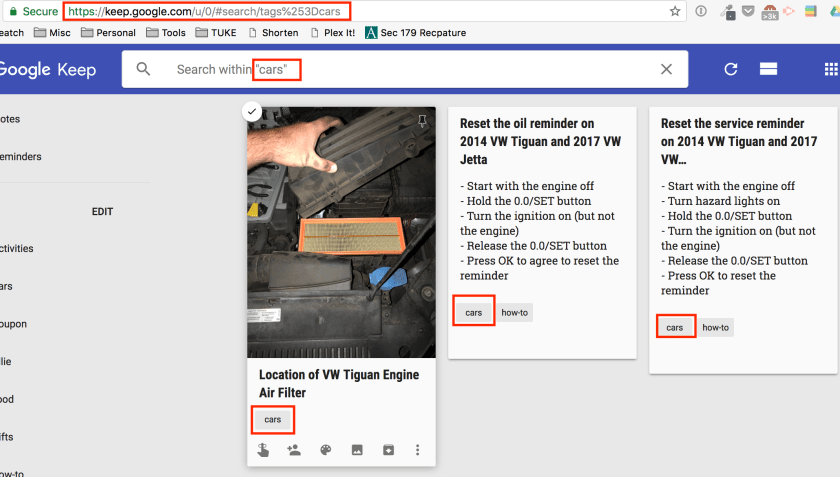 Screenshot showing how search works using a single label