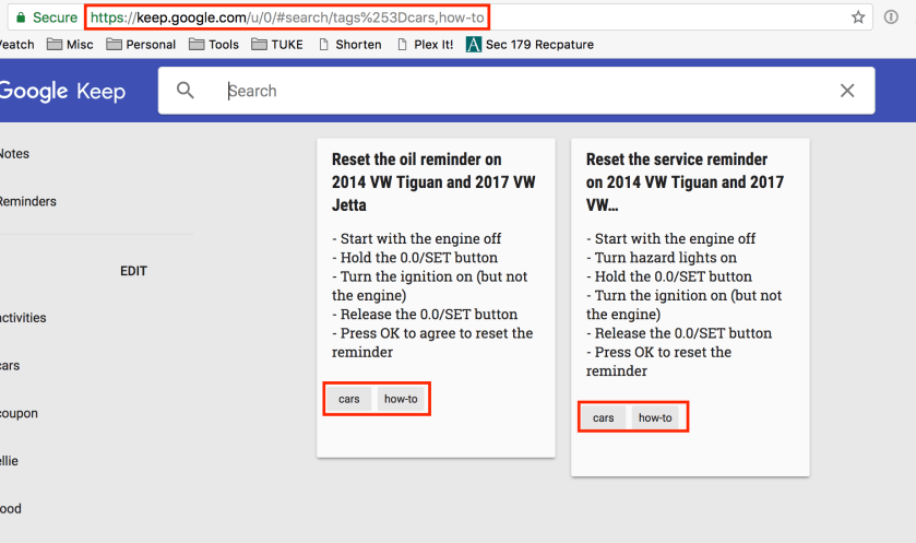 Screenshot showing how you can search using multiple labels