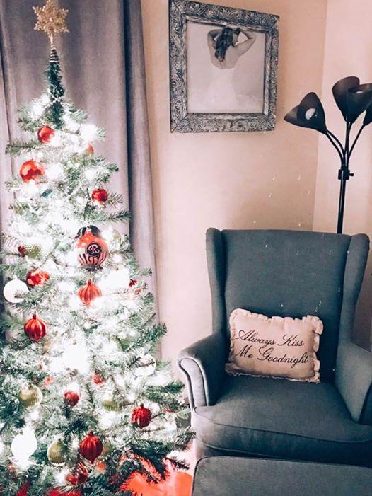 christmas tree and chair