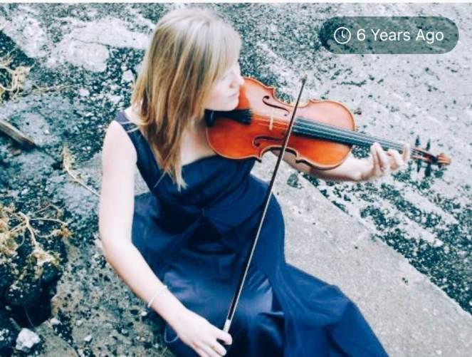 violin purple dress