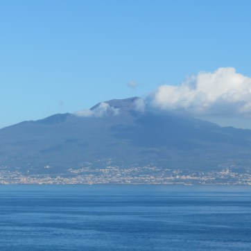 Mt. Vesuvius across the Sorrento bay.