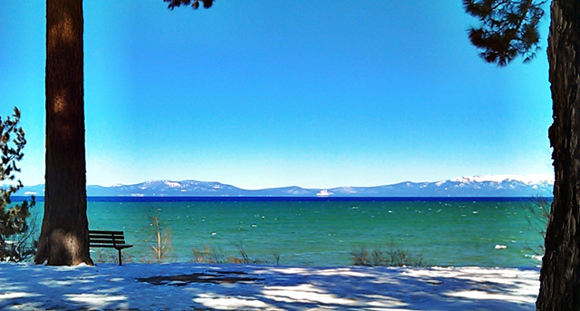 view of Lake Tahoe from Regan Beach