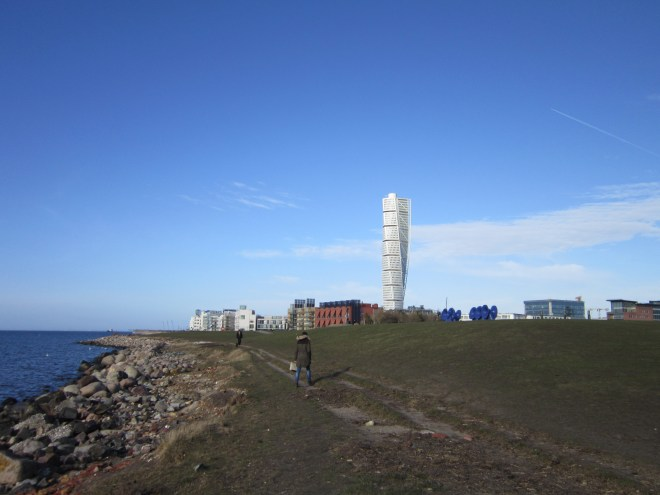 View of the Turning Torso from the beach in Malmö