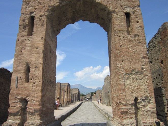 Pompeii with Vesuvius in the background.