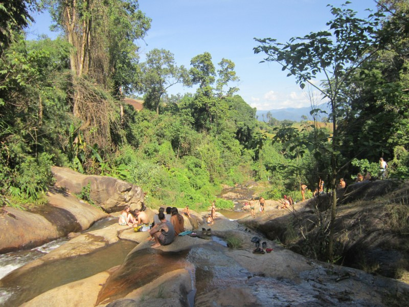 View from a waterfall over surrounding area, near Pai, Thailand