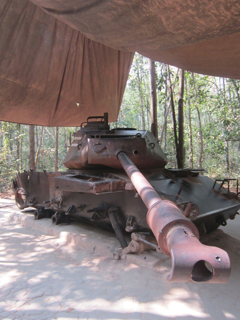 Destroyed M-41 tank at the Cu Chi tunnels in Vietnam