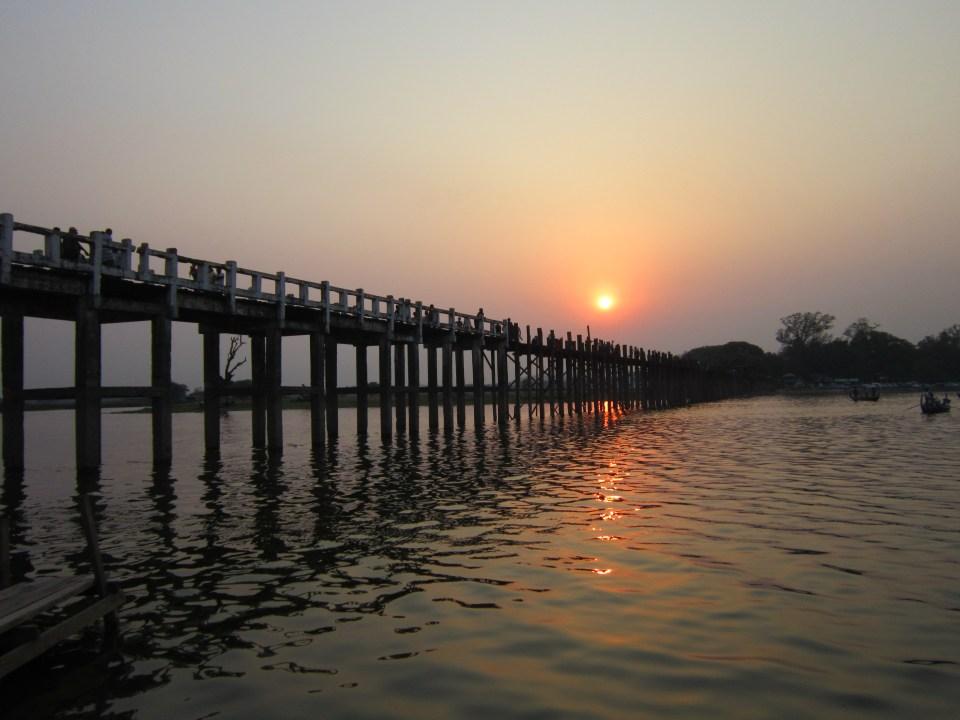 Sunset over U Bein Bridge near Mandalay, Myanmar