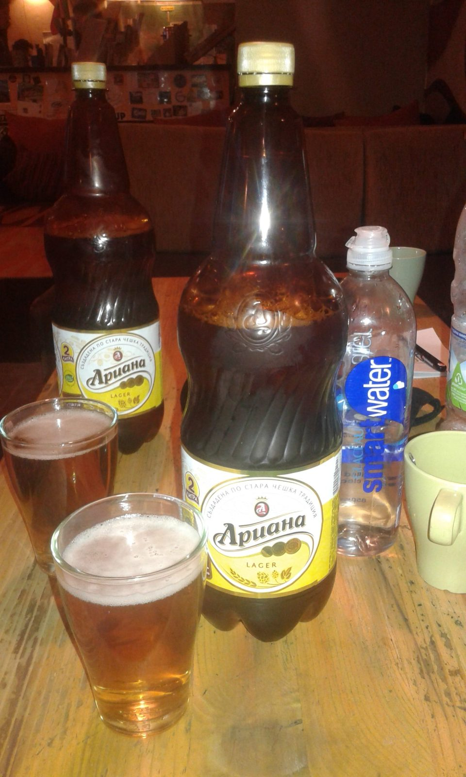 backpacking tips - watch how much you drink! Bottles of beer in bulgaria