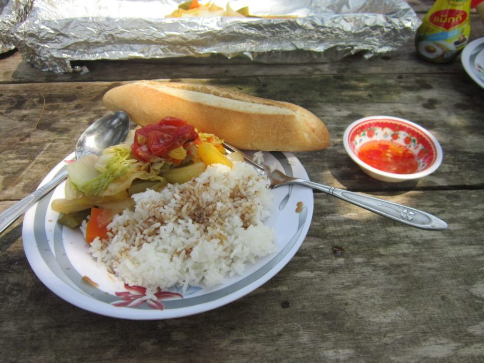 Cambodia Barbecued vegetables with rice. Food for a Vegetarian In Southeast Asia