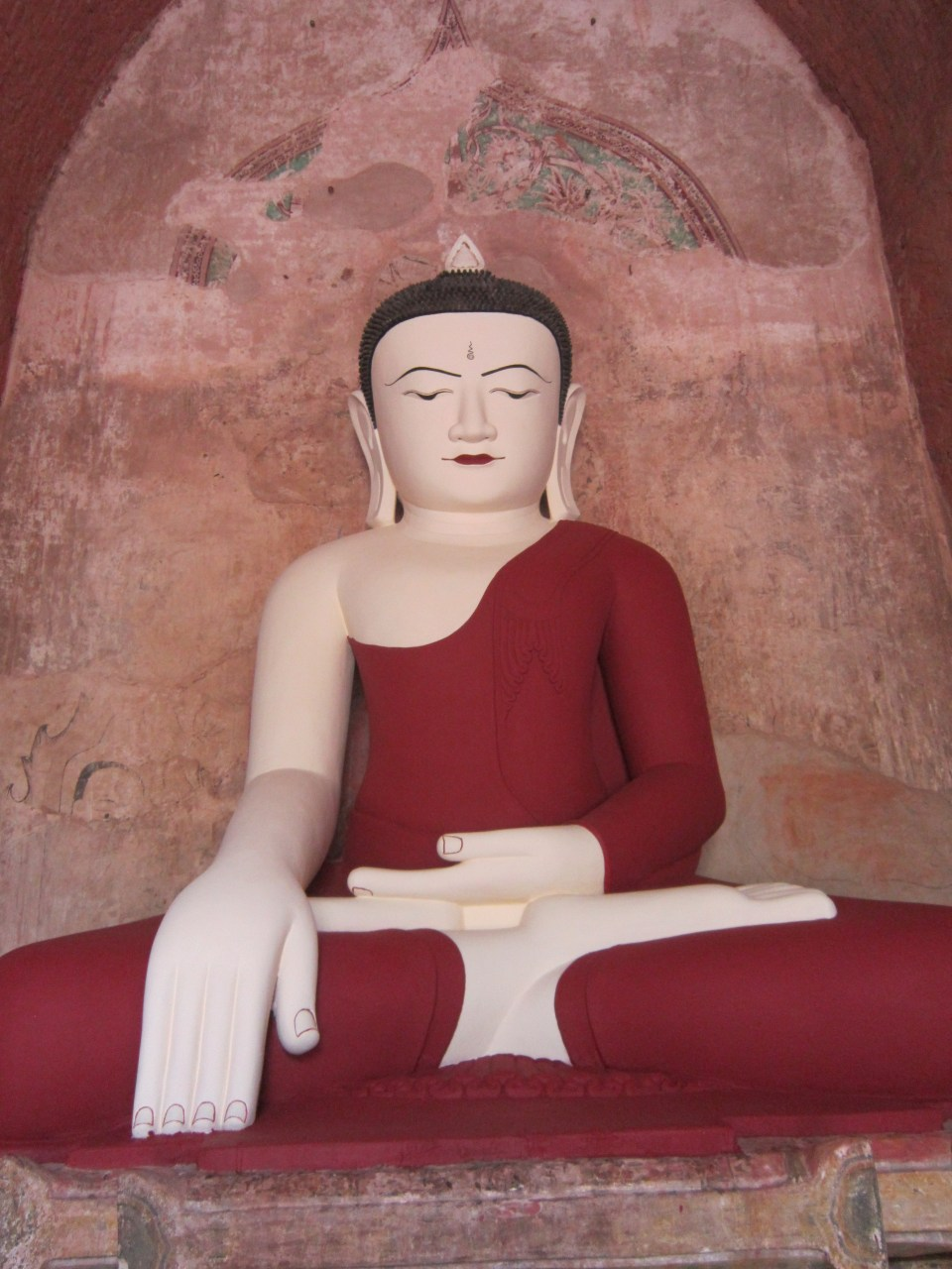 Robed Buddha statue in the Temples of Bagan